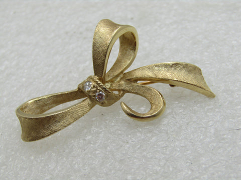 Vintage 14kt Diamond Bow Brooch, , Binder Bros, 1934-1950