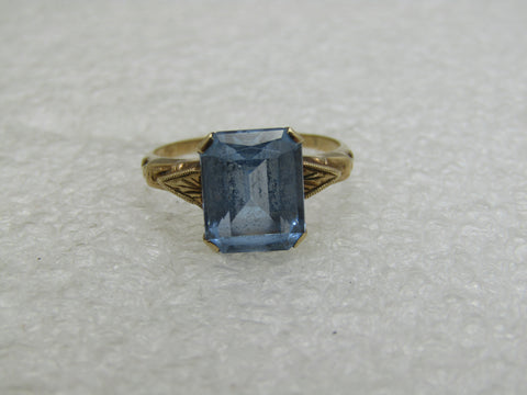 Vintage 10kt Blue Topaz Princess Cut Ring, Art Deco, Sz. 7, 3CTW