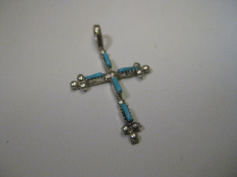 Sterling Silver Turquoise Cross Southwestern Pendant, large bale