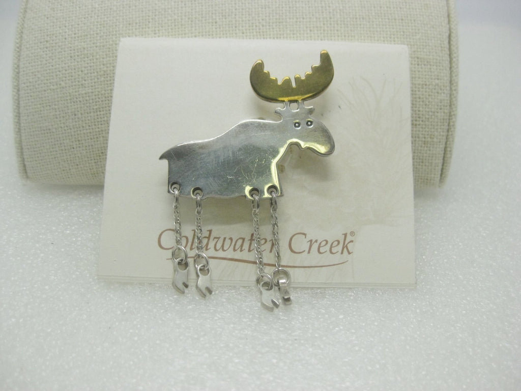 Sterling Silver Moose Brooch, Dangle Legs, Mexico, Two-Tone, Coldwater Creek, on card.