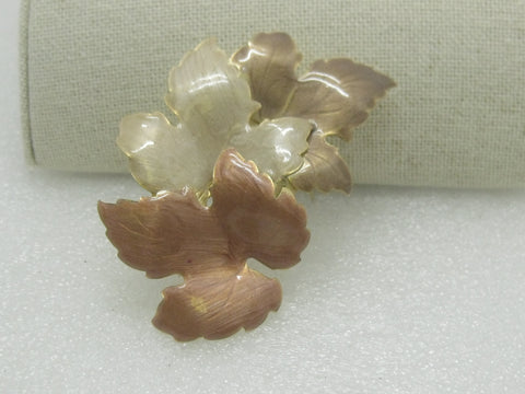 "Vintage Enameled Fall Leaves Brooch 3"", Gold Tone, 1960's-1970's"