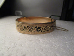 Vintage 14kt Gold  Wide Hinged Clamper Bracelet, Engraved Ethnic/Damascene, Safety Chain, 14mm, 6""