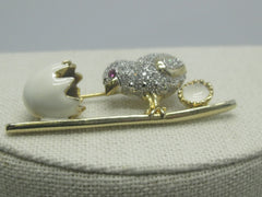 "Vintage Rhinestone Chick & Egg Brooch, Enameled, 2.25"" Long, 1960's or after"