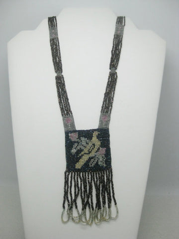 "1920's Seed Beaded Flapper Necklace, Bird & Floral Necklace, 32"", 4"" Looped Dangle"
