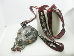 Vintage Ethnic Sajai Metal Purse, Polished Stones, Velvet Strap With Charms, Bedouin, Mid-Eastern, Bohemian, Rustic