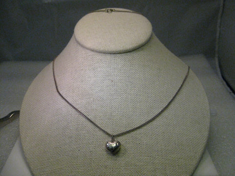 "Vintage Sterling Silver 32"" Necklace with Heart Pendant - puffy engraved, 1.06 grams"