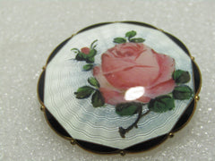 Vintage Sterling Guilloche Rose Brooch, C-Clasp, O.F. Hjortdahl, Norway,1-5.8""