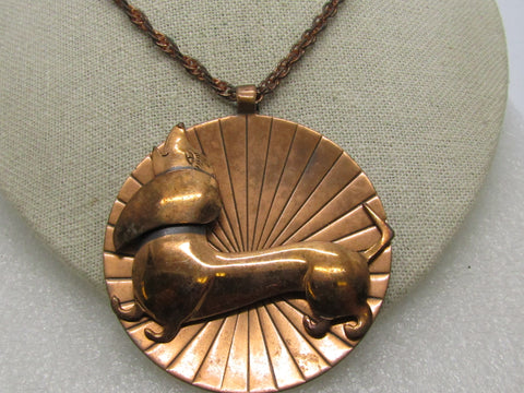 "Vintage Copper Dachshund Necklace, Bell Copper, 22"" Chain, 2.25"" Pendant Solid Copper"