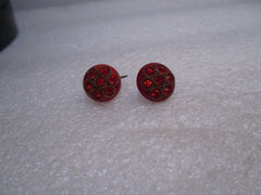 Vintage Red Rhinestone Screw Back Earrings, 1940's, Domed 5/8""