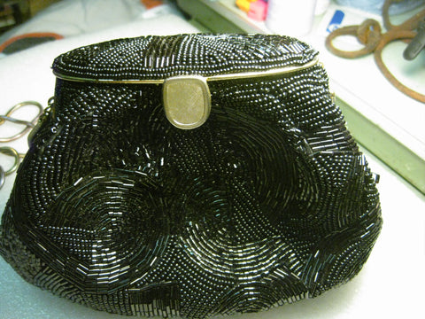 Black Beaded Purse, hinged, clam shell opening, Tri-Color Serpentine Chain Shoulder Strap