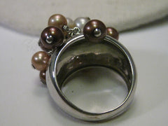 Sterling Silver Ring, Dangling  Pearl Cluster, Faux Tahitian, Mocha, Chocolate & White, sz 6, Boho Appeal