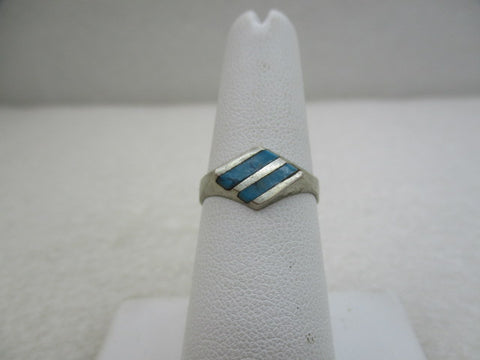 Vintage Sterling Southwestern Turquoise Chip Ring, Sz. 7, Diamond Shaped
