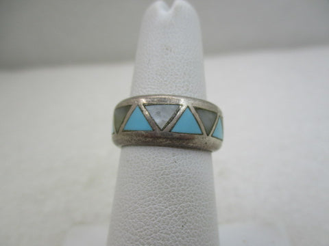 Vintage Sterling Southwestern Turquoise Inlaid Band/Ring, Sz. 5.5