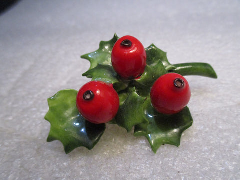 Vintage China Holly Ivy Brooch, Cara China, Staffordshire England, 2.25""