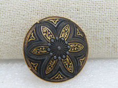"Vintage Damascene Round Domed Brooch, Trombone Clasp, Nearly 1.5"", Gold oOne, 1960's"
