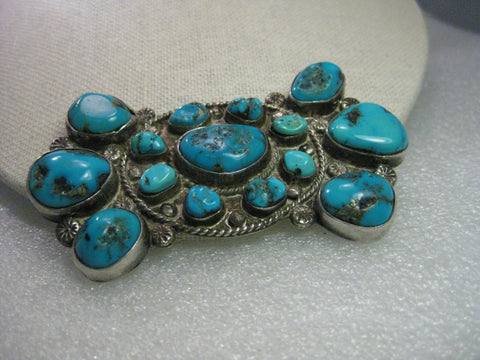 Sterling Silver Southwestern Cluster Turquoise Pendant, Old Pawn-Navajo, signed JP
