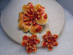 Enameled Floral Brooch & Clip Earrings Set, Shades of Orange, Rhinestone Center 1950's/1960's