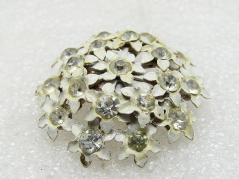 Vintage Enameled Forget-Me-Not Brooch, White with Clear Rhinestones, 1950's-1960's, 1-1/3""