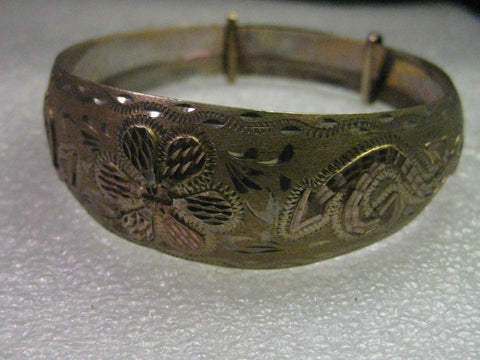 Vintage 10kt Gold and Sterling Engraved Bangle Bracelet, Adjusting Slides - Unique