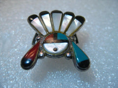 Vintage Sterling Silver Inlaid Zuni Sun Face Ring, with Headdress, size 10.75, 10.67 grams