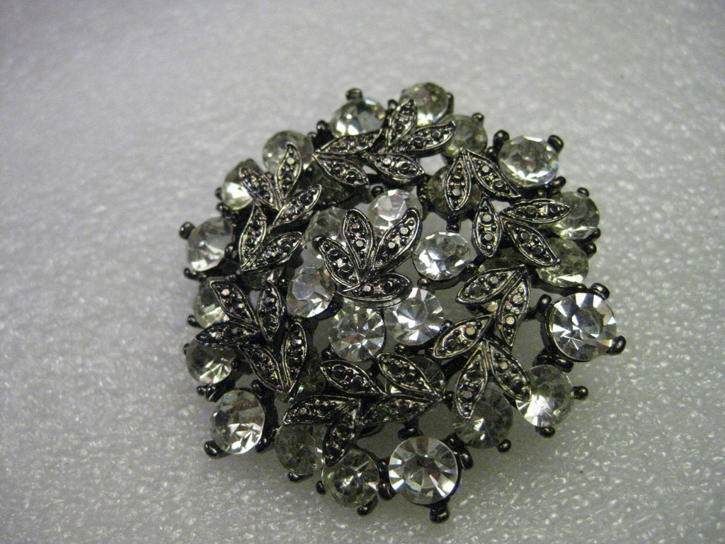 Vintage Rhinestone Brooch/Pendant Combination, Layered Faux Marcasite Accents, 2""