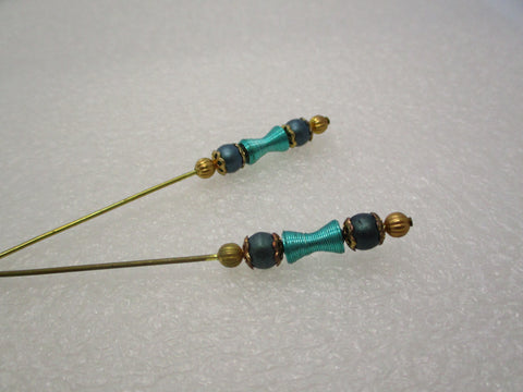 "Two Vintage 8"" Teal Hat Pins. Gold Tone"