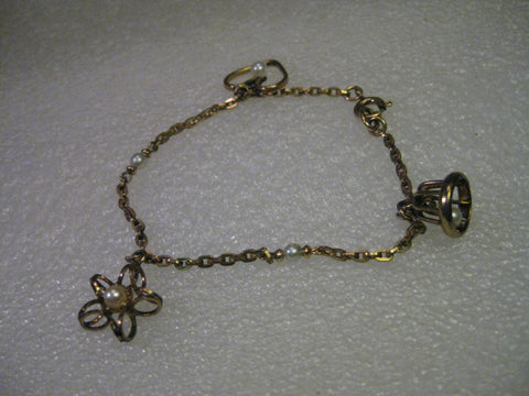 Vintage 1950-1960s Charm Bracelet with Faux Pearls, 1/20 12kt G.F., 7""