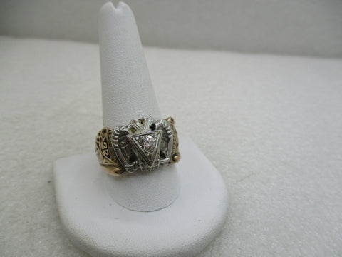 Vintage 10kt-12kt 32nd Degree Diamond Masonic Ring, Scottish Ring, Sz. 12.25 (WB)