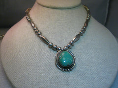 "Sterling Silver Navajo Old Pawn Navajo Pearl & Tube Beaded Turquoise Necklace, 1"" 23.80 grams, Vintage"