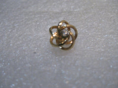 Vintage 14kt Diamond  Love Knot Tack Pin with Chain, signed D, .87 Grams, 10.8mm