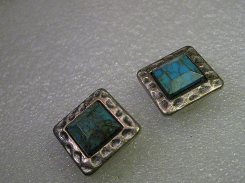 Southwestern Button Covers, Pair, Faux Turquoise, Square, Hammered Appearance
