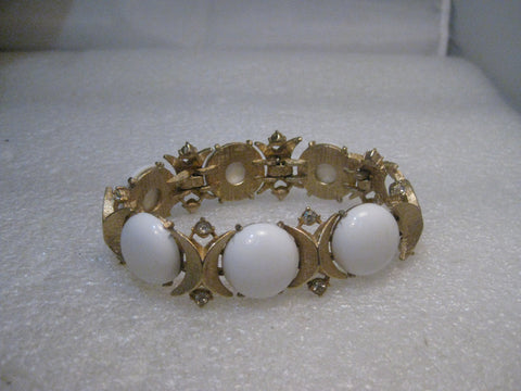 "Sarah Coventry White Bracelet with Rhinestones, 1970's, 7.25"", Gold Tone"