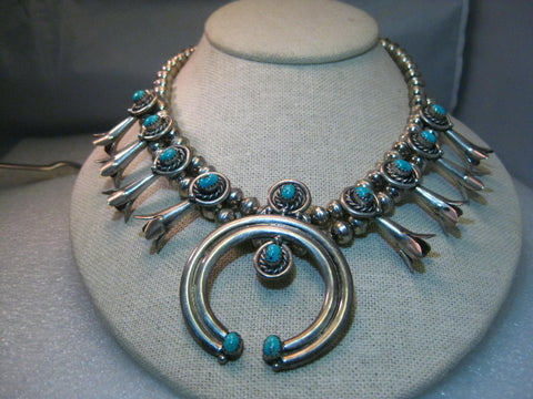 "Sterling Silver Navajo Old Pawn Turquoise Squash Blossom Choker/Necklace, 15.75"", signed A.L. Becenti, 82.20 grams"