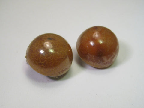 Vintage Domed Amber Stud Clip Earrings, Hong Kong, Resin or Celluloid - Bakelite - 3/4""
