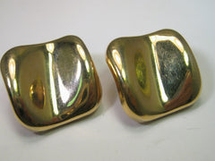 Classic 1980's Gold Tone Pierced Earrings, Abstract Square Shape, Curved