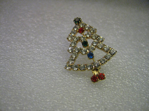 Vintage and Current Rhinestone Christmas Tree Pin, Clear, Red, Blue, Green