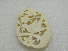 "Carved Asian Bird & Flowers Pendant, 2-7/8"" Long, Oval, Cutout"