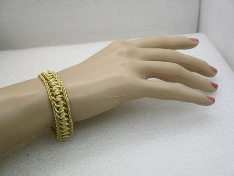 "Vintage 10kt Rope & Woven Bracelet, 7.75"", 13mm, 7.28 grams"