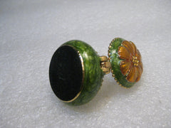 "Green Enameled Hinged Trinket Box, Floral, Orange Petals, & CZ, 1"" tall, Vintage"