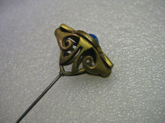 True Vintage Art Deco Ornate Hat Pin, Blue/White Stone