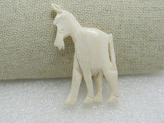 "Carved Horse Pendant/Bead White, 2"" by 1.25"""