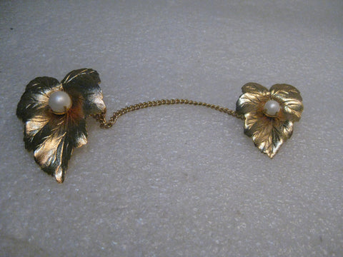 Vintage Double Leaf w/Chain Brooch/Sweater Guard, Sarah Coventry, late 1950's, Convertible,  Faux Pearl