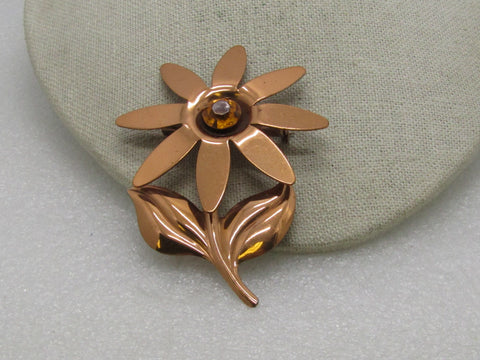 "Vintage Copper Floral Brooch, Gold Rhinestone Center, 3.5"" tall, 1940's-1950's"