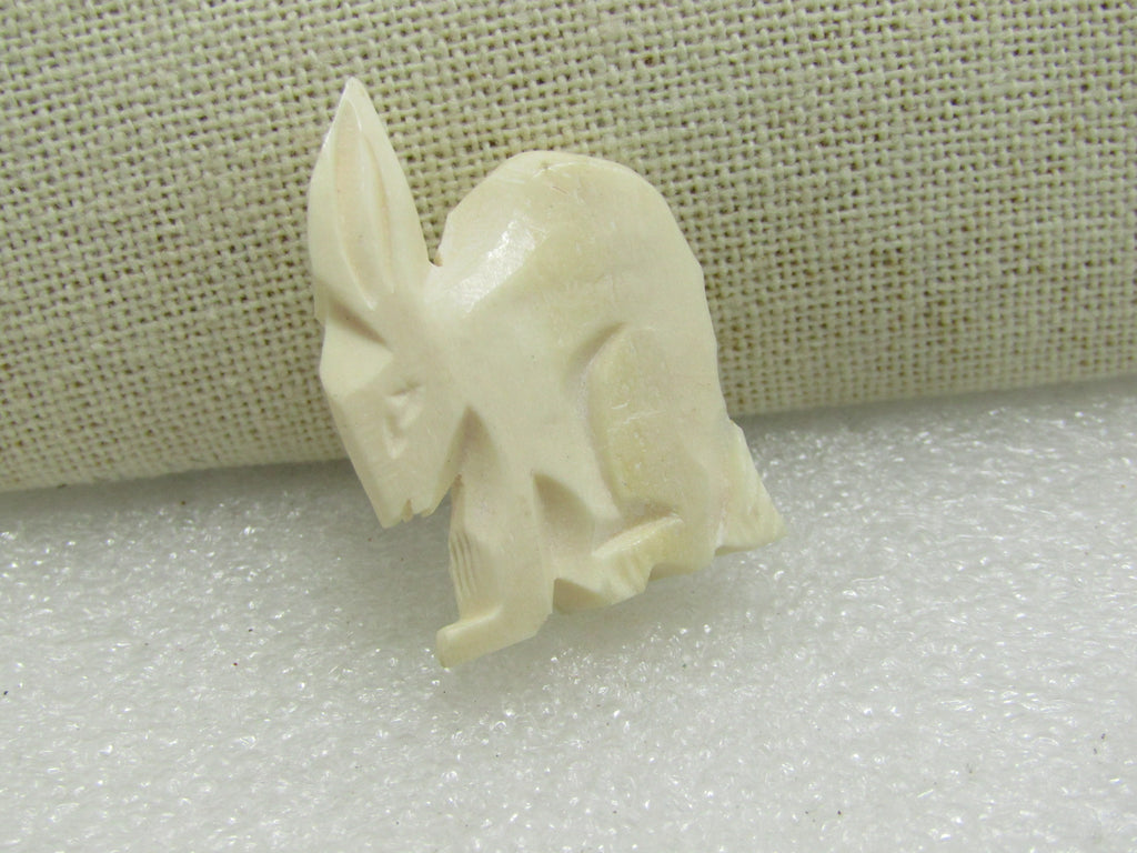 "Four Carved Rabbit Beads, Bovine/Ox Bone, 1.5"" by 1.25"""