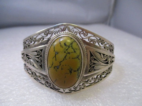 Sterling Silver Scrolled Southwestern Cuff Bracelet Scrolled/Filigree  with Yellow/Orange Stone 7""