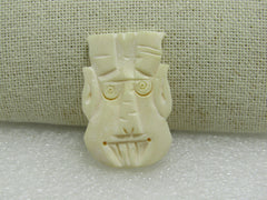 "Fan and Tribal Mask Carved Pendant/Bead White, , 2"", 1.5"""