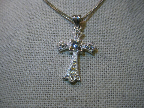 "Silver Tone Rhinestone Cross Necklace, Rhinestone Accents, 18"" Chain, Ornate"