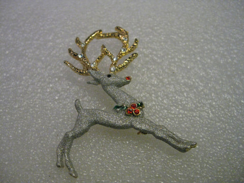 Vintage but Current Rudolph the Red Nosed  Reindeer Brooch, Red Rhinestone Accents, Dual-tone