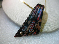 "Hand blown Black, Red, White, Copper Gold Glass Pendant on 18"" Serpentine Chain, 3mm wide - Boho appeal"