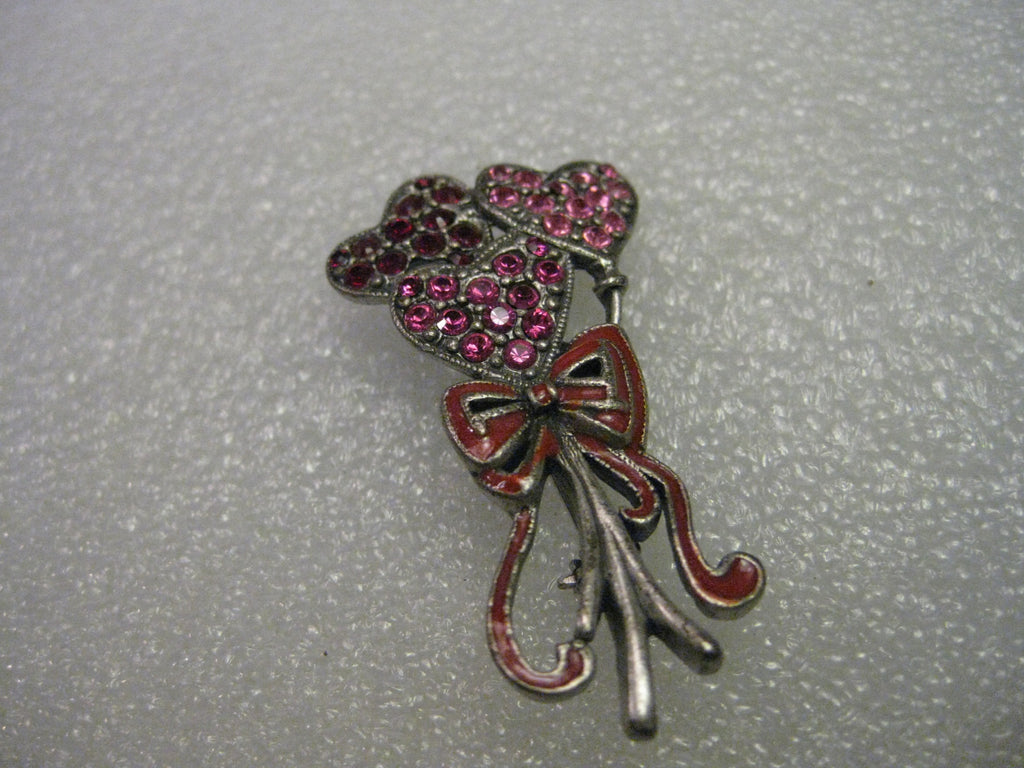 Vintage Rhinestone Heart Balloon Bouquet Brooch, Pink and Red